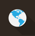 earth icon with long shadow vector image vector image