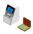 finance money bank concept - withdrawing cash at vector image