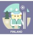 Finn with Ski vector image