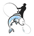fisherman catches fish design vector image vector image