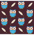 Flat Seamless Pattern Owls with Feathers vector image