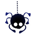 funny silhouette of a fluffy spider descending on vector image