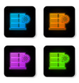 glowing neon server and gear icon isolated on vector image vector image