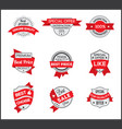grey and red marketing label set 6 vector image vector image