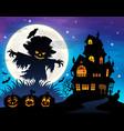 halloween scarecrow silhouette theme 1 vector image vector image
