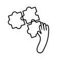 hand with puzzle line style vector image vector image
