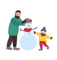happy father and daughter building snowman parent vector image