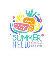 hello summer logo template original design vector image vector image