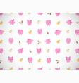 horizontal greeting card with cute cartoon pink vector image vector image