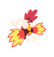 hot fire chicken crazy rooster creative logo vector image vector image