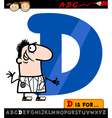 letter d with doctor cartoon vector image vector image