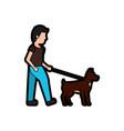 man walking dog pet icon image vector image vector image