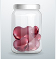 metal hearts on the bottom of the glass jar vector image