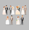 newlywed couples flat set vector image
