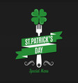 patrick day food and drink menu on black vector image