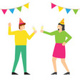 people celebrating birthday party in festive caps vector image