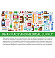pharmacy and medical supply banner medicines and vector image vector image