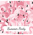 pink flamingo birds crowd group summer party vector image vector image