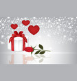 present rose and hearts on blurred background vector image
