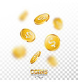 realistic gold coins on transparent vector image vector image
