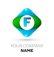 realistic letter f logo in colorful rhombus vector image vector image