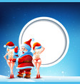 Santa Claus and two girls vector image vector image