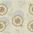 seamless background with compass and anchor vector image vector image