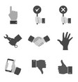 set of gray hand icons and symbols in trendy flat vector image vector image