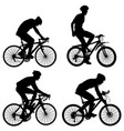 set silhouette of a cyclist male vector image vector image