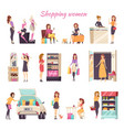 shopping women in different stores color card vector image