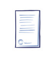 signed contract with text stamp signature vector image vector image