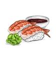 sushi color sketch Ebi Nigiri vector image vector image