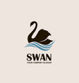 swan and waves icon vector image vector image