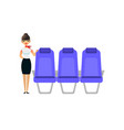 the stewardess is waiting for the passengers vector image vector image
