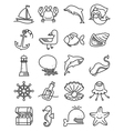 thin and simple marine and nautical icons set vector image vector image