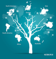 Tree shaped world map vector image vector image