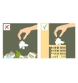 Two images with hand throwing rubbish