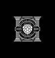 vintage retro hop brewery pillar label logo design vector image vector image