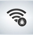 wifi connection signal icon with virus or bug in vector image vector image