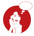 woman on the vintage phone and blank thinking vector image