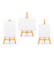 wooden easel for painting and drawing with a vector image