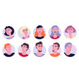 young people avatar icon set vector image vector image