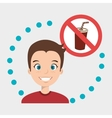 man cartoon fast food prohibited vector image
