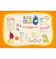 Cute colorful kids meal menu placemat vector image