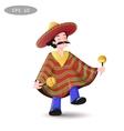 Cartoon Mexican man in a sombrero and poncho vector image