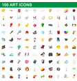 100 art icons set cartoon style vector image vector image
