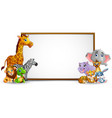 animal cartoon collection with blank sign vector image