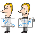 businessman and graph cartoon vector image vector image