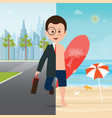 businessman in suit on city view and on the beach vector image vector image