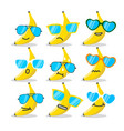 cartoon banana emojis with sunglasses vector image vector image